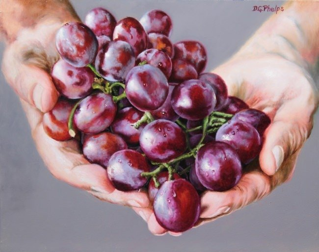 oil painting of grapes titled: whom all blessings flow
