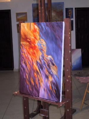 abstract oil painting on easel