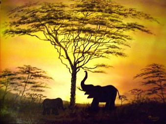 African Elephants at sunset