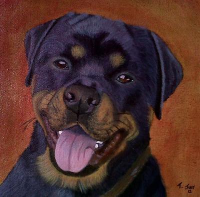 Judge, a Rottweiler Oil Painting Portrait