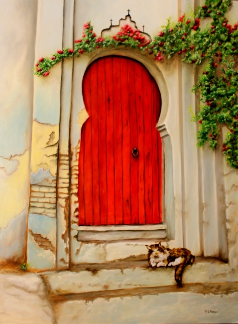 tuscany red door with cat oil painting