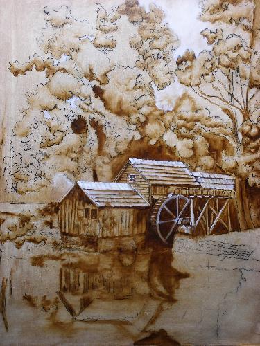 landscape brown under painting