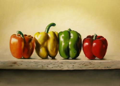 stop light peppers painting