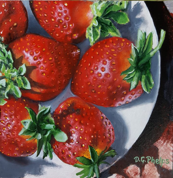 red strawberries on a plate oil painting
