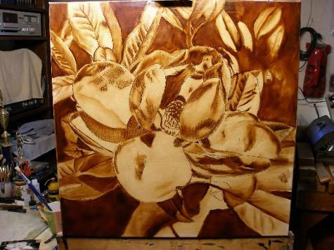 magnolia painting brown under painting