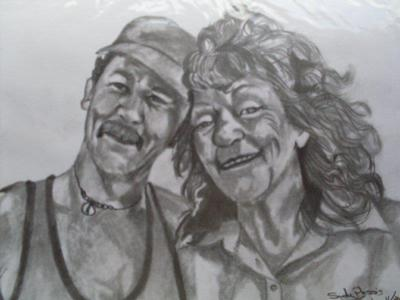 Pencil portrait of two very special people.