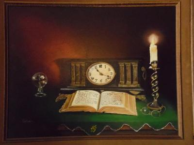 Bible, Clock, Candle still life oil painting.