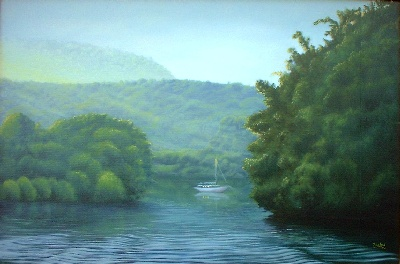 oil painting Smith Mountain Lake Cove