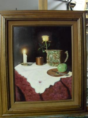Still life of candle, rose and fruit.