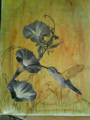 hummingbird feeding painting