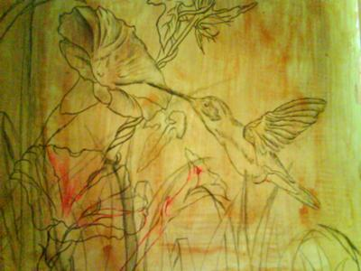 hummingbird painting, underpainting