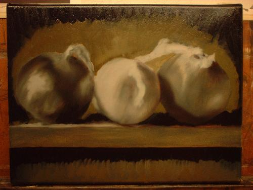 Food Art, Onions still life, painting lesson