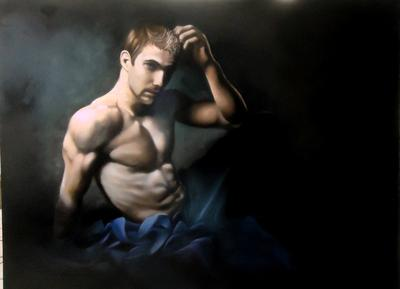 Is It A Sin to Be This Beautiful, oil portrait of a man with blue drape.