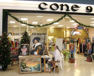 me painting in the mall on art walk day