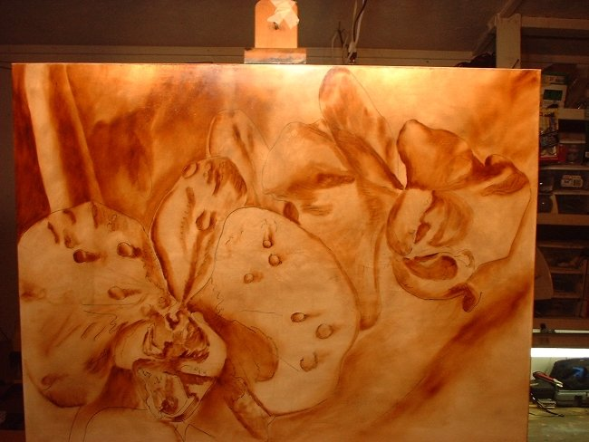 orchid painting brown under painting