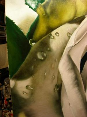 painting a rose and dew drops