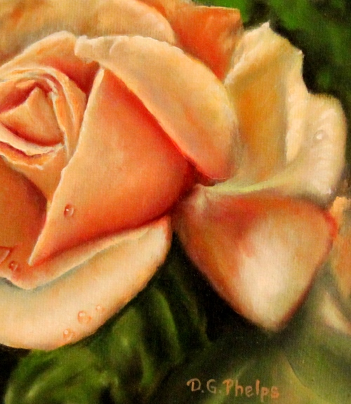 peach colored rose painting