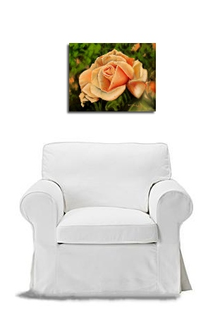 rose oil painting with chair