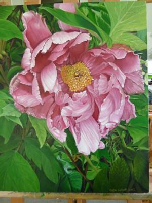 Signed Peonie Painting
