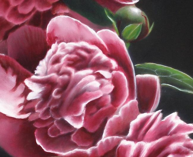 pink peony oil painting