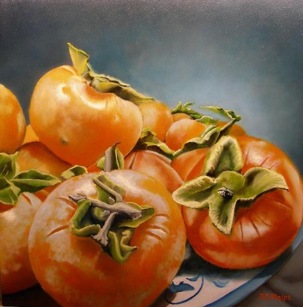 still life persimmons