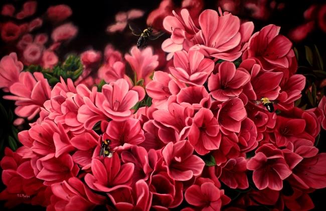red azalea painting