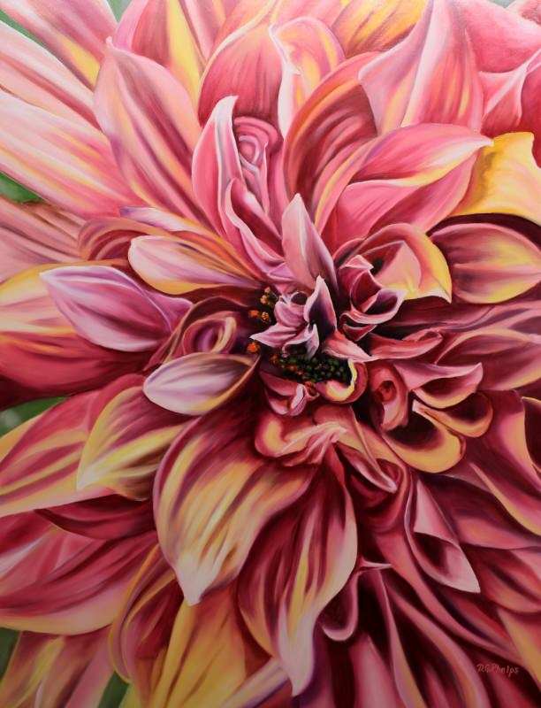 pink dahlia oil painting