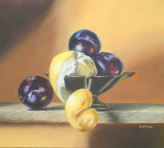 lemon painting, plums painting