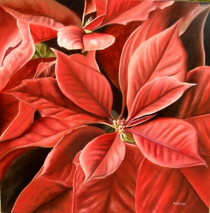 poinsettia flower painting