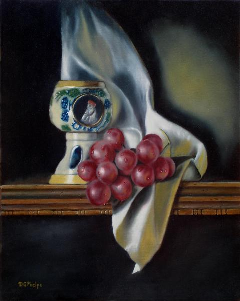 still life art, grapes, goblet painting