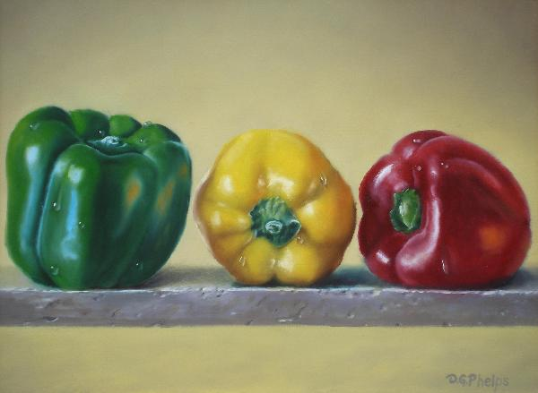 food art, red pepper, green pepper, yellow pepper, stop light peppers