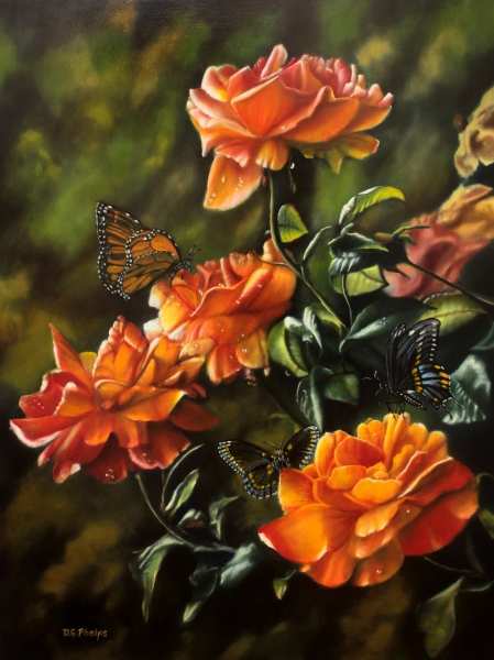 Rose painting, rose bush painting, orange rose