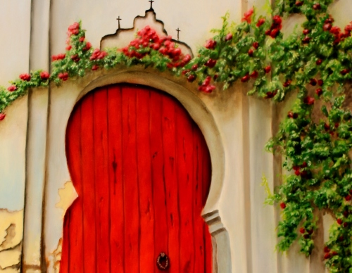 red door with climbing roses oil painting