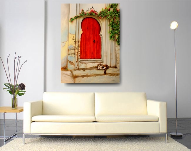 red door with calico cat