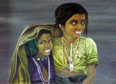 Siblings, portrait of 2 children