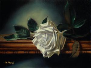 small white rose painting