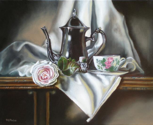 tea pot with pink rose oil painting