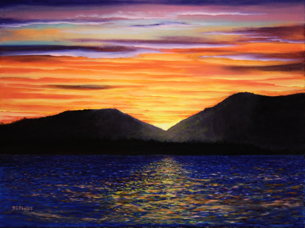 sunset lake art