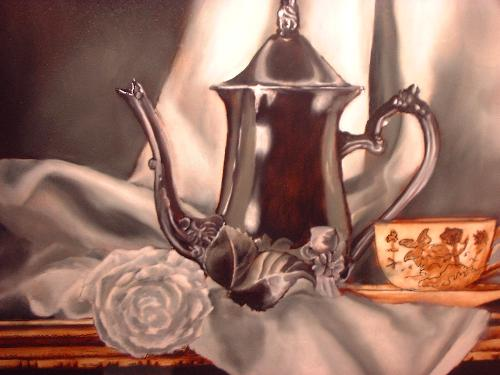 silver tea pot painting