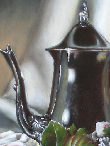 silver teapot oil painting