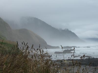foggy afternoon just south of Yachats Oregon