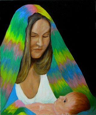 Trisha, oil portrait with baby, Madonna theme.