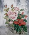 mawar Dan raya, Rose and Hisbiscus flower painting.