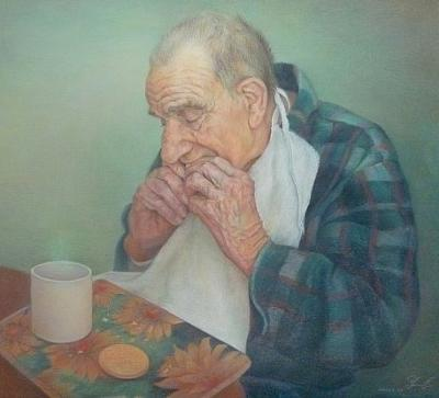 Portrait of an elderly gentleman with breadfast.