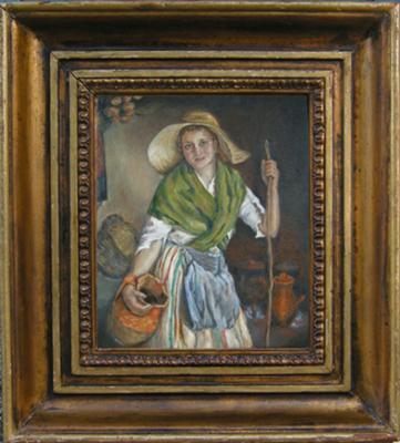Farmer girl oil painting portrait