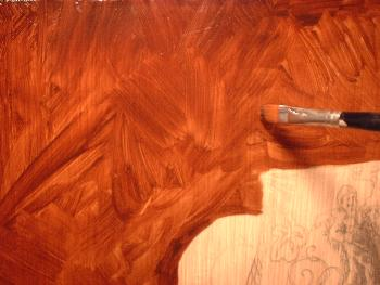 The umber under layer or brown underpainting used in the for Easy oil painting tutorial