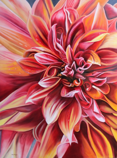red dahlia flower painting
