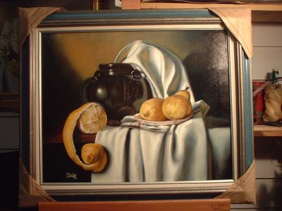 brown vase oil painting by D.G. Phelps with cloth drape folds