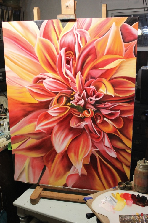 dahlia flower oil painting wet and wild dahlia