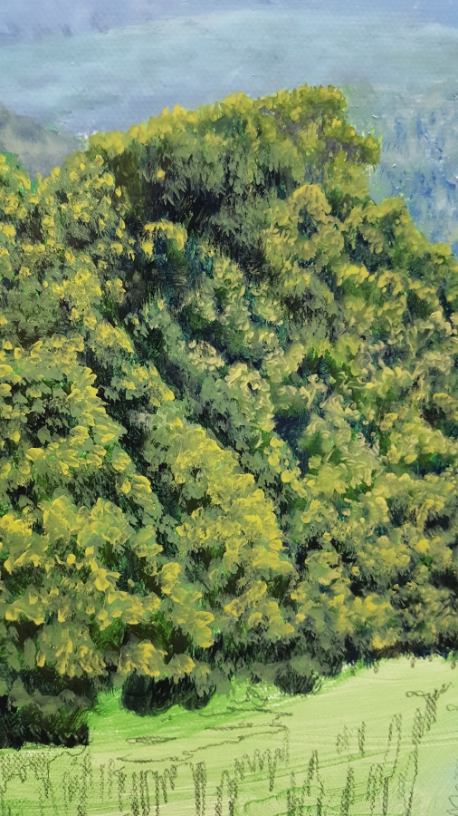 close up detail of mountain trees painting
